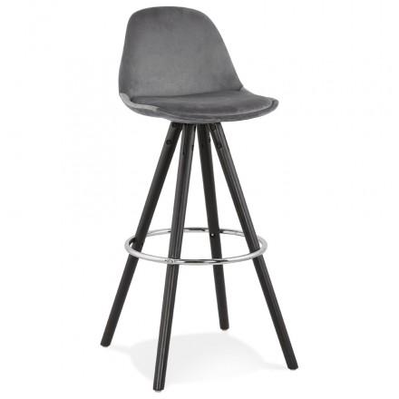 Set bar in velluto nero piedi in legno MERRY (grigio)