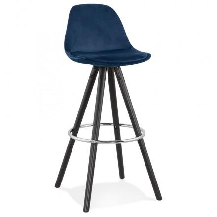 Bar set design in velvet black wooden feet MERRY (blue)