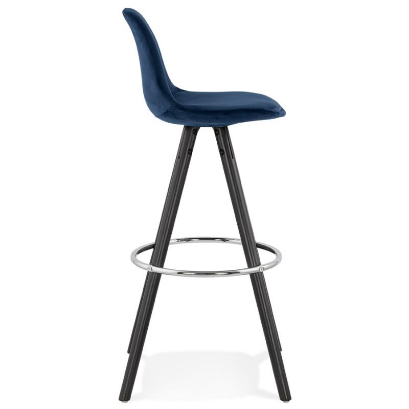 Tabouret de bar design en velours pieds bois noir MERRY (bleu) - image 46008