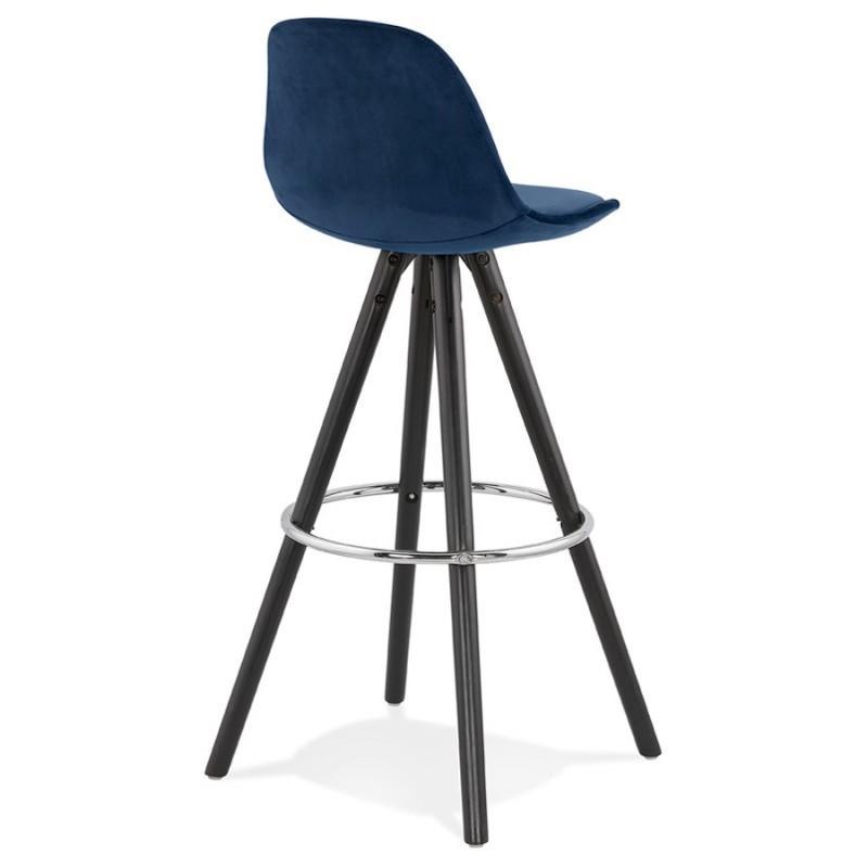 Tabouret de bar design en velours pieds bois noir MERRY (bleu) - image 46009