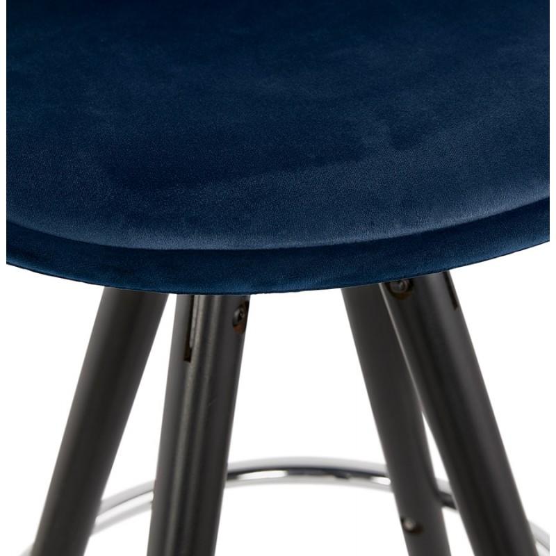 Tabouret de bar design en velours pieds bois noir MERRY (bleu) - image 46012
