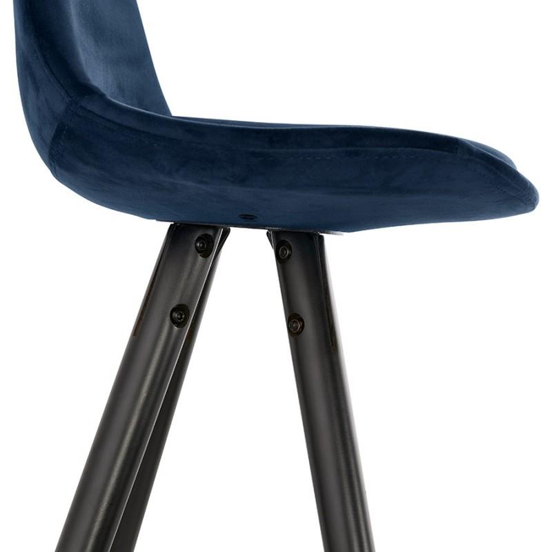 Tabouret de bar design en velours pieds bois noir MERRY (bleu) - image 46014