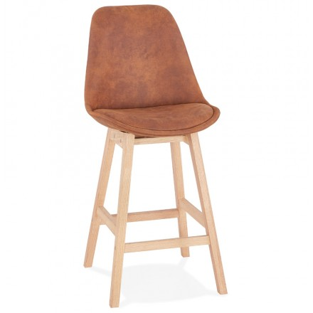 Mid-height bar pad Scandinavian design in microfiber feet natural color LILY MINI (brown)