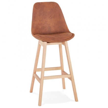 Scandinavian design bar stool in microfiber feet natural color LILY (brown)