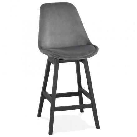 Design del set di barre a mezza altezza in velluto nero piedi CAMY MINI (grigio)