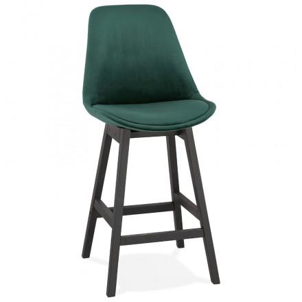 Tabouret de bar mi-hauteur design en velours pieds noirs CAMY MINI (vert)