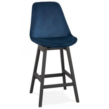 Tabouret de bar mi-hauteur design en velours pieds noirs CAMY MINI (bleu)