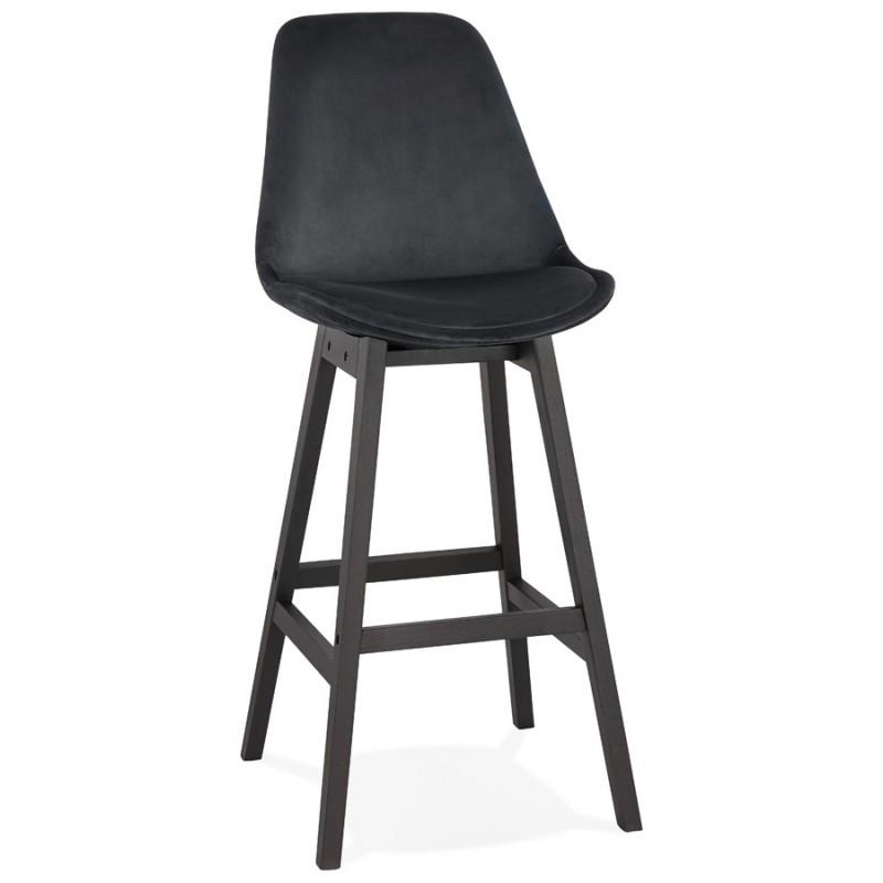 Tabouret de bar design en velours pieds noirs CAMY (noir)