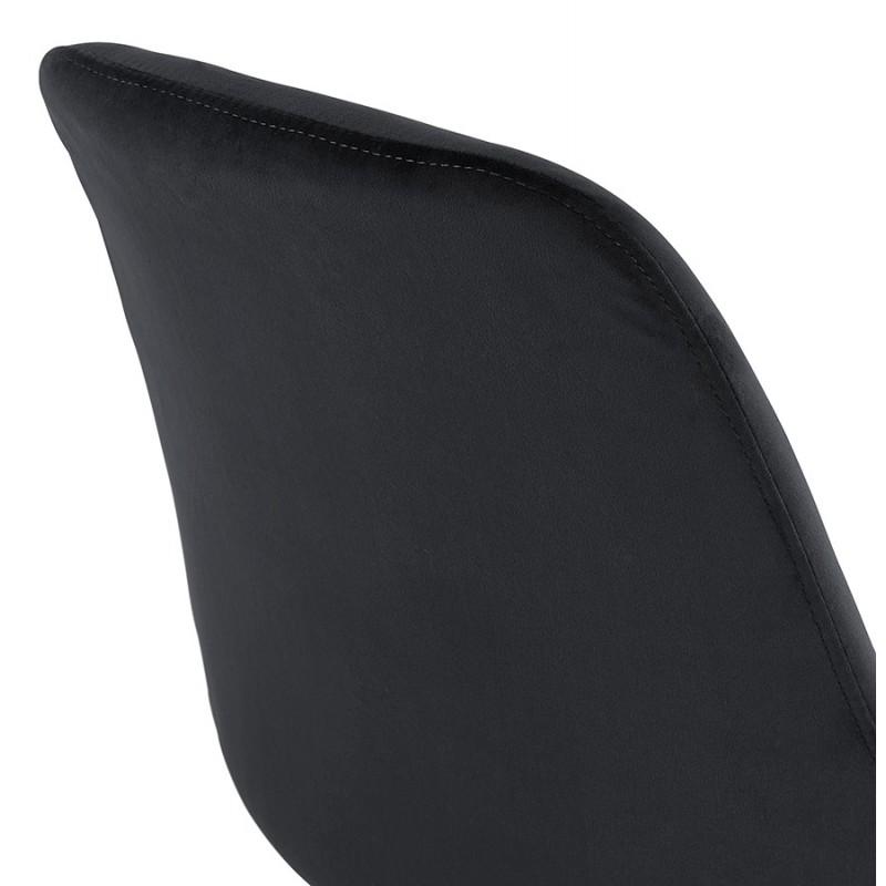 Tabouret de bar design en velours pieds noirs CAMY (noir) - image 46126