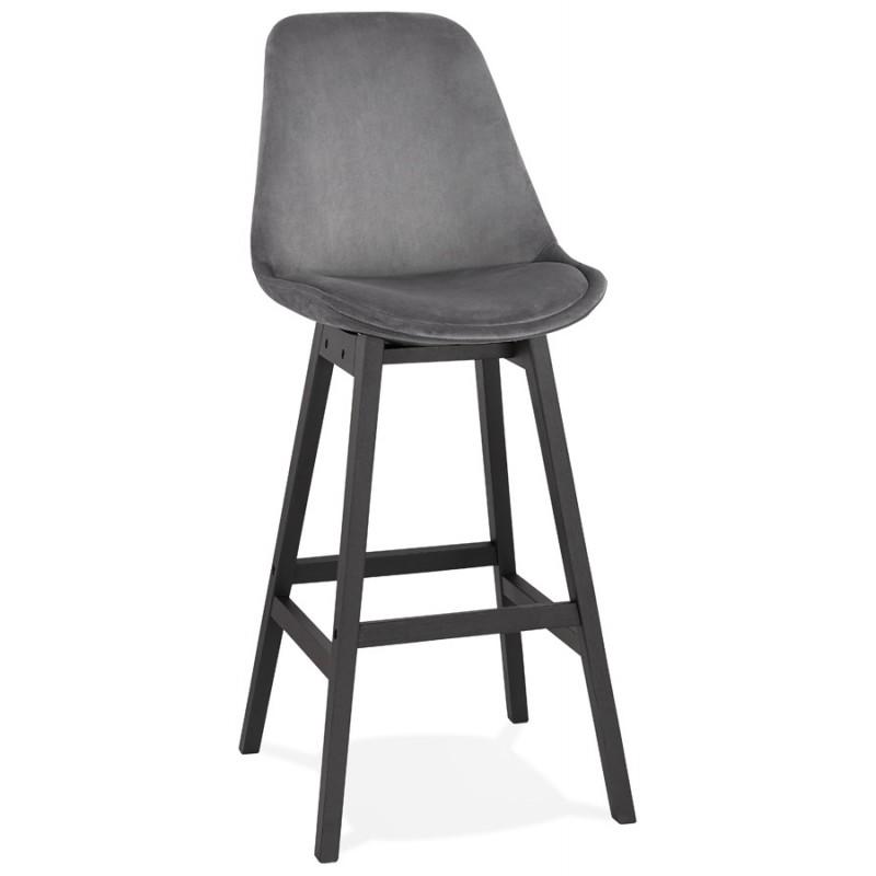 Tabouret de bar design en velours pieds noirs CAMY (gris) - image 46129