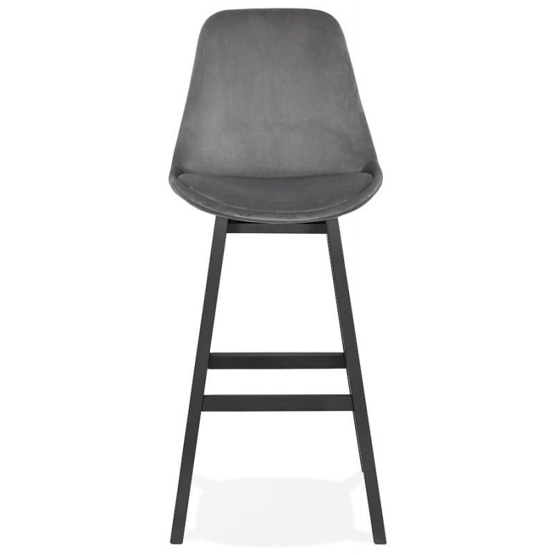 Tabouret de bar design en velours pieds noirs CAMY (gris) - image 46130