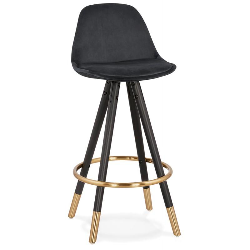 Tabouret de bar mi-hauteur design en velours pieds noirs et dorés NEKO MINI (noir) - image 46154