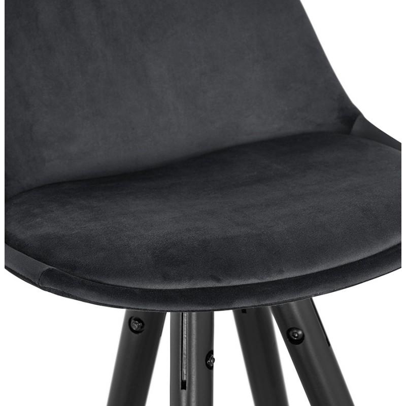 Tabouret de bar mi-hauteur design en velours pieds noirs et dorés NEKO MINI (noir) - image 46156