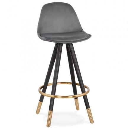 Tabouret de bar mi-hauteur design en velours pieds noirs et dorés NEKO MINI (gris)