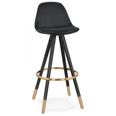 Tabouret de bar design en velours pieds noirs et dorés NEKO (noir)