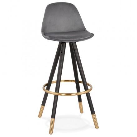 Tabouret de bar design en velours pieds noirs et dorés NEKO (gris)