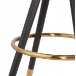 Tabouret de bar design en velours pieds noirs et dorés NEKO (bleu)