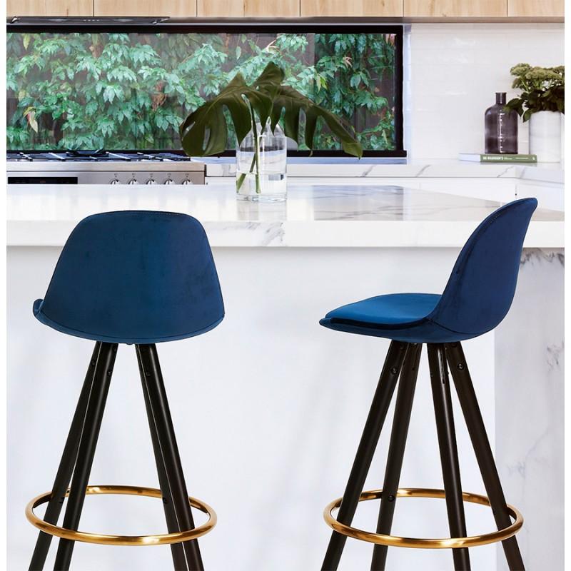 Tabouret de bar design en velours pieds noirs et dorés NEKO (bleu) - image 46195