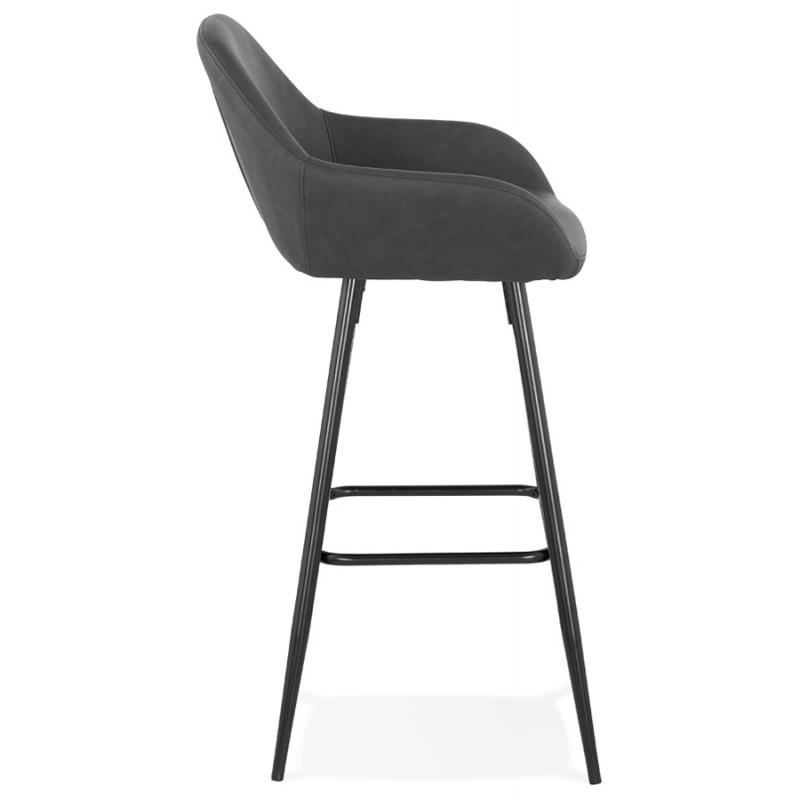 Tabouret de bar design chaise de bar pieds noirs NARNIA (gris foncé) - image 46212