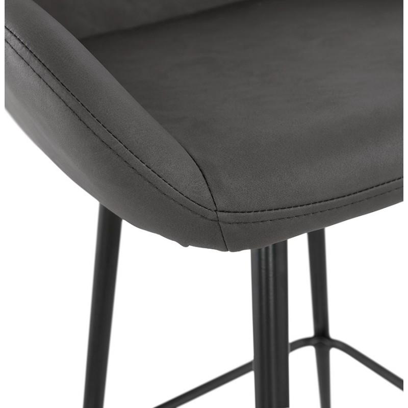Tabouret de bar design chaise de bar pieds noirs NARNIA (gris foncé) - image 46217