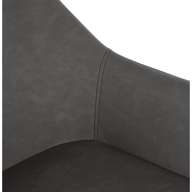 Tabouret de bar design chaise de bar pieds noirs NARNIA (gris foncé) - image 46218