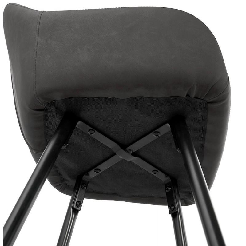 Tabouret de bar design chaise de bar pieds noirs NARNIA (gris foncé) - image 46220