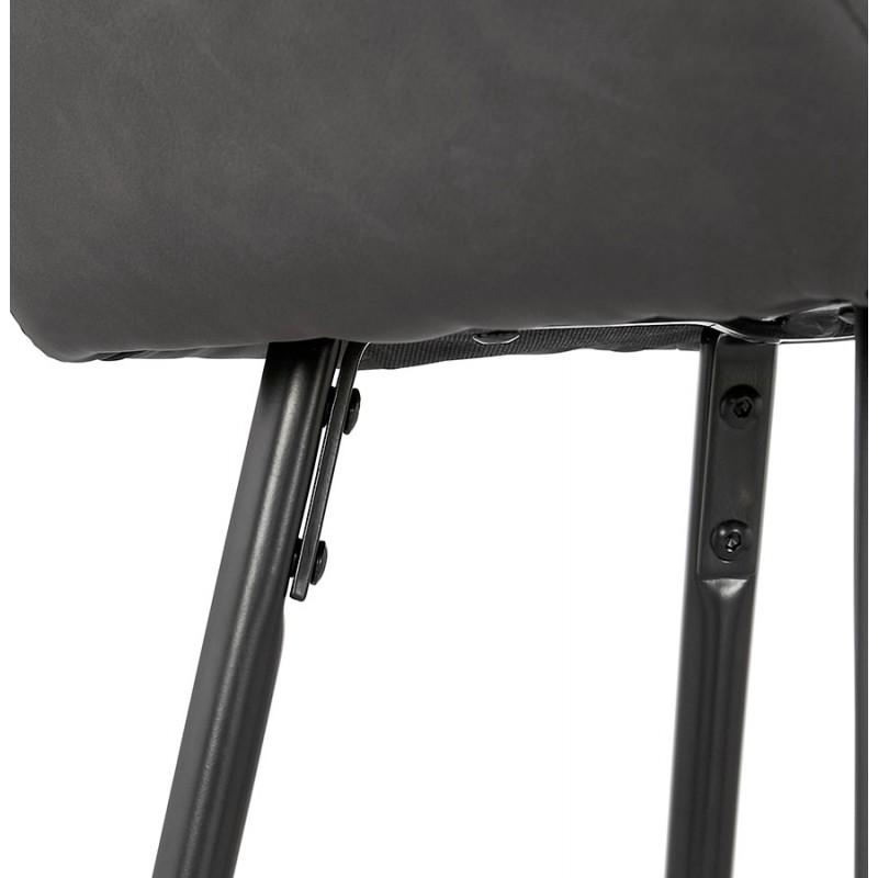 Tabouret de bar design chaise de bar pieds noirs NARNIA (gris foncé) - image 46221