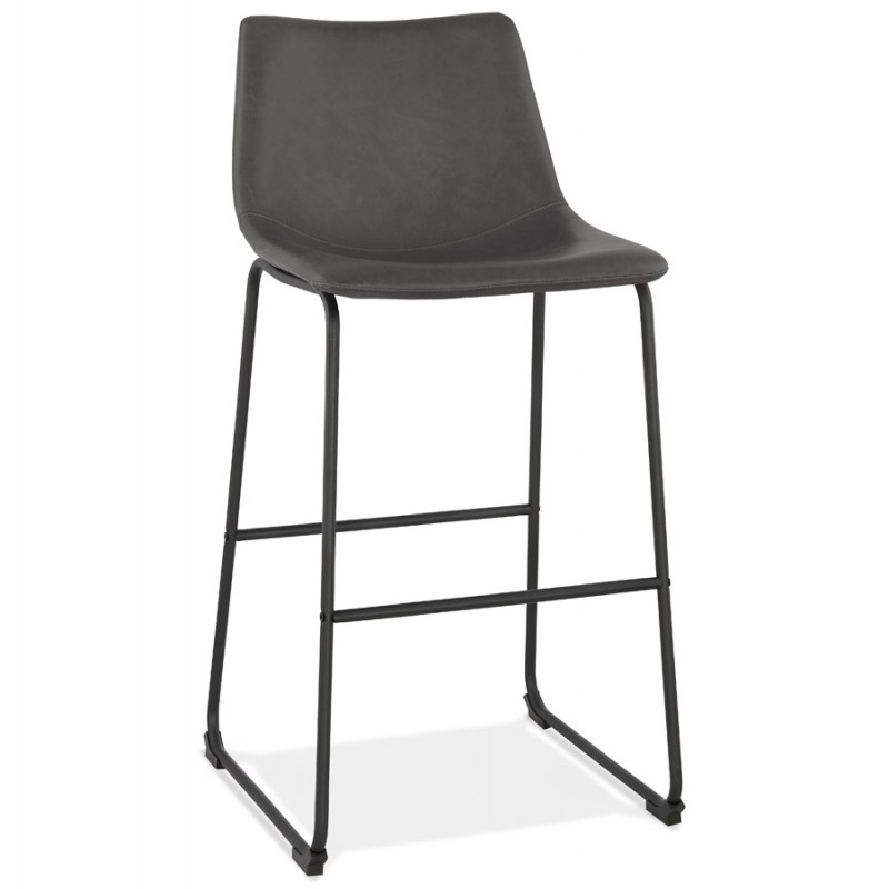 Tabouret de bar chaise de bar vintage pieds noirs JOE (gris foncé)