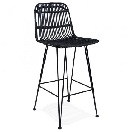 AMINI MINI black rattan bar stool (black)