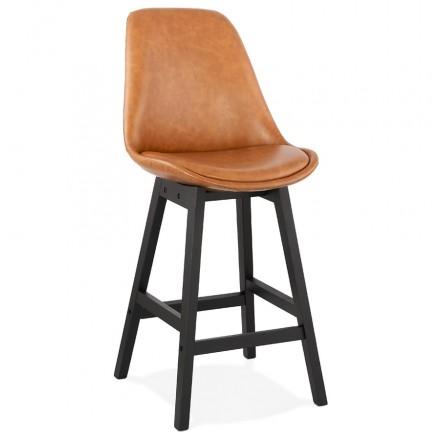Tabouret de bar chaise de bar mi-hauteur design pieds noirs DAIVY MINI (marron clair)
