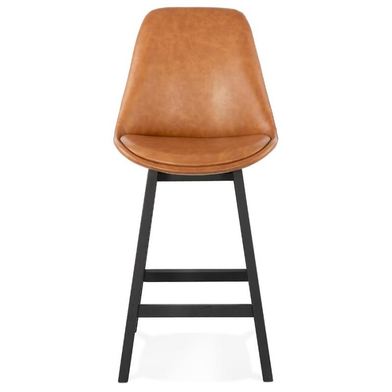 Tabouret de bar chaise de bar mi-hauteur design pieds noirs DAIVY MINI (marron clair) - image 46275