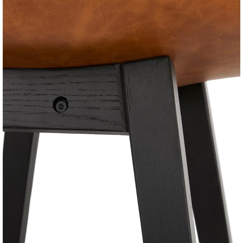 Tabouret de bar chaise de bar mi-hauteur design pieds noirs DAIVY MINI (marron clair) - image 46281