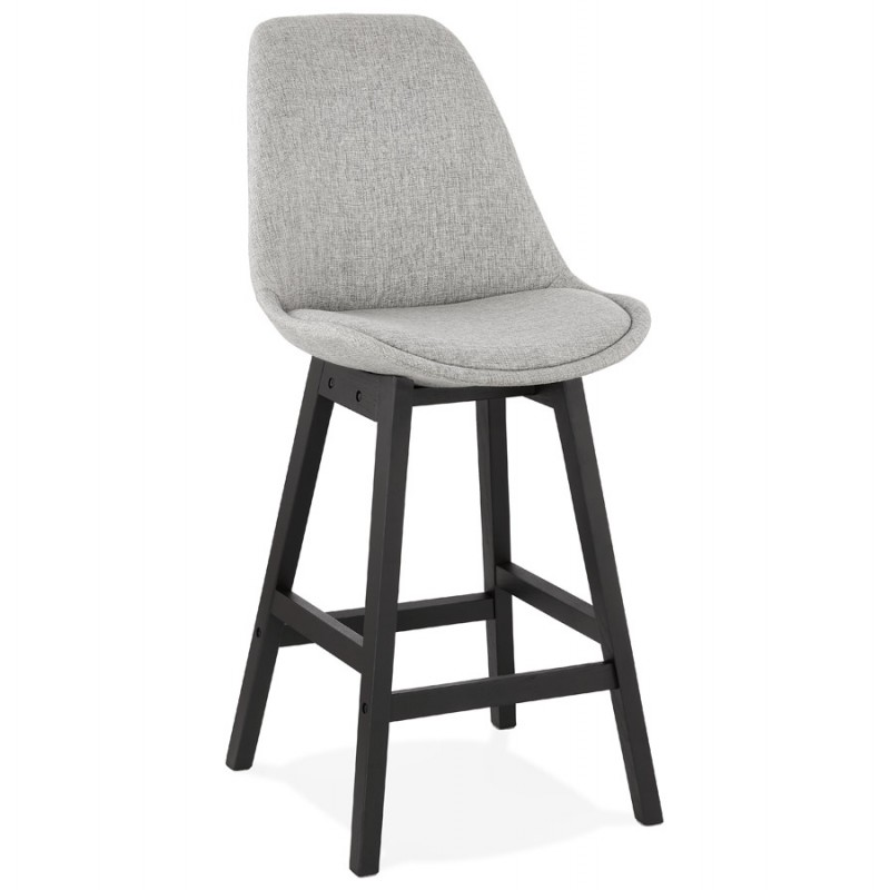 Tabouret de bar chaise de bar mi-hauteur design pieds noirs ILDA MINI (gris clair) - image 46285
