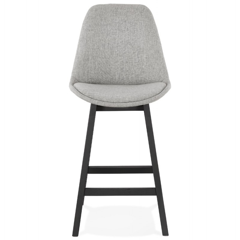 Tabouret de bar chaise de bar mi-hauteur design pieds noirs ILDA MINI (gris clair) - image 46286