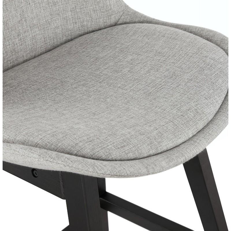 Tabouret de bar chaise de bar mi-hauteur design pieds noirs ILDA MINI (gris clair) - image 46291