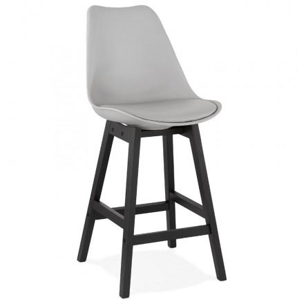 Tabouret de bar chaise de bar mi-hauteur design pieds noirs DYLAN MINI (gris clair)
