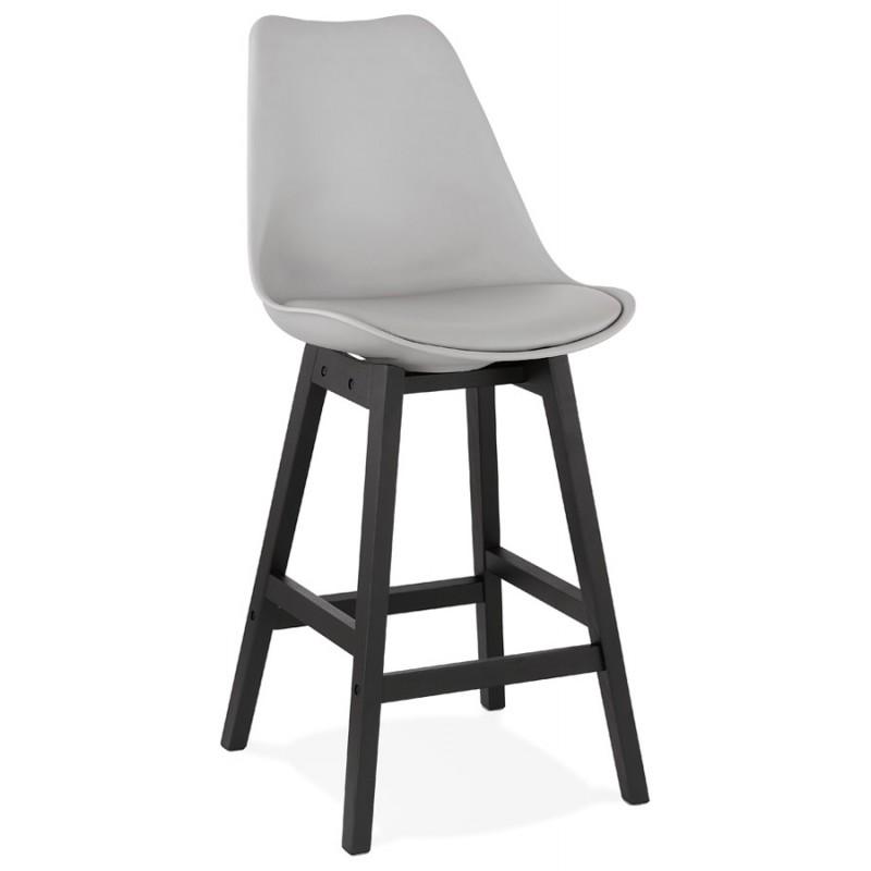 Tabouret de bar chaise de bar mi-hauteur design pieds noirs DYLAN MINI (gris clair) - image 46295