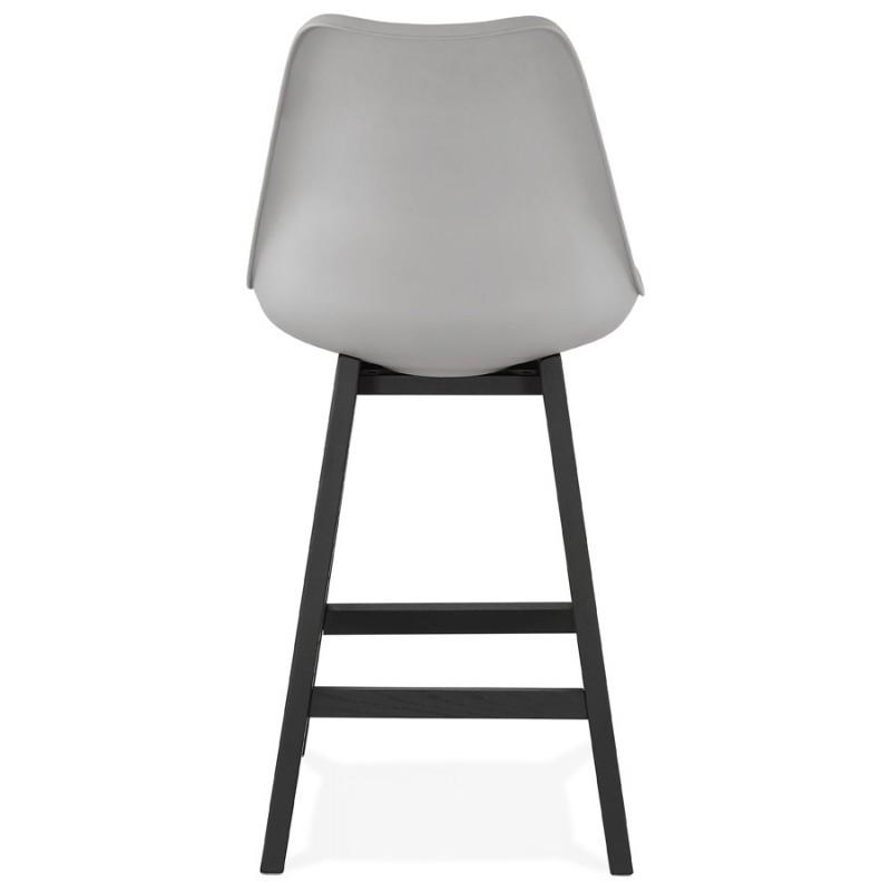 Tabouret de bar chaise de bar mi-hauteur design pieds noirs DYLAN MINI (gris clair) - image 46299