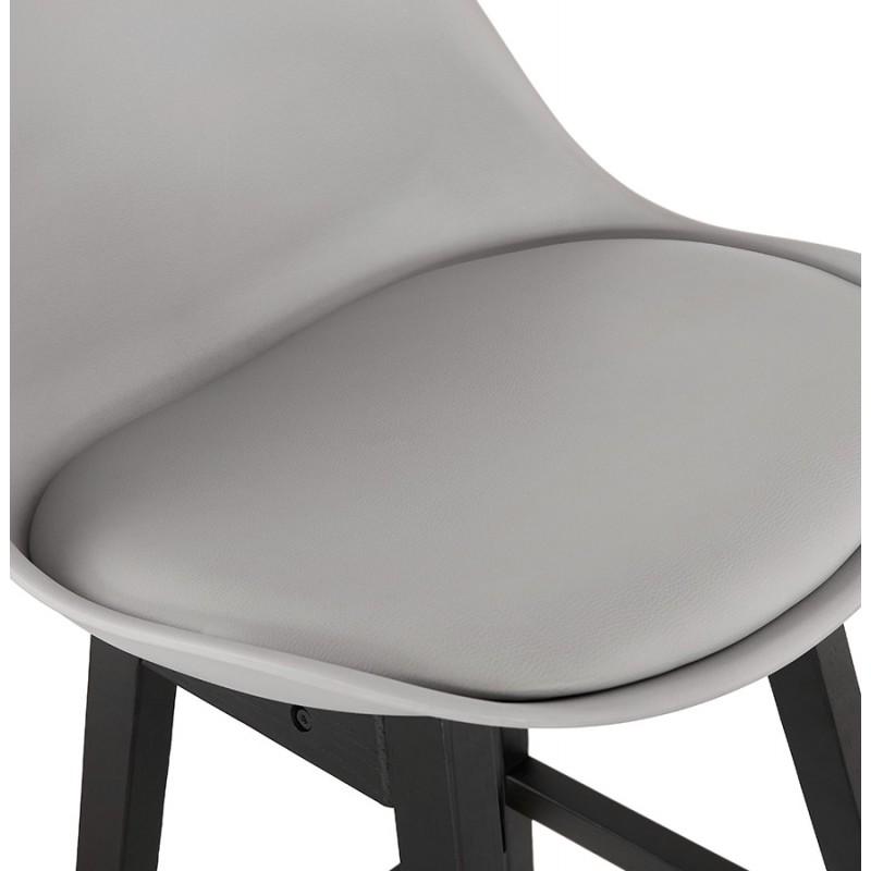 Tabouret de bar chaise de bar mi-hauteur design pieds noirs DYLAN MINI (gris clair) - image 46300
