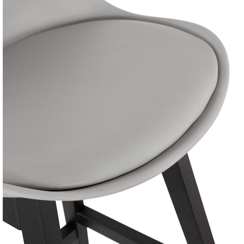 Tabouret de bar chaise de bar mi-hauteur design pieds noirs DYLAN MINI (gris clair) - image 46301