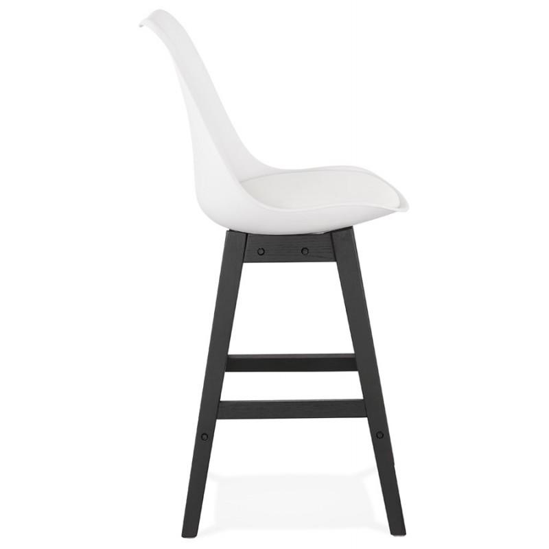 Tabouret de bar chaise de bar mi-hauteur design pieds noirs DYLAN MINI (blanc) - image 46307