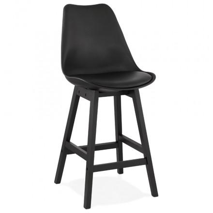 Tabouret de bar chaise de bar mi-hauteur design pieds noirs DYLAN MINI (noir)