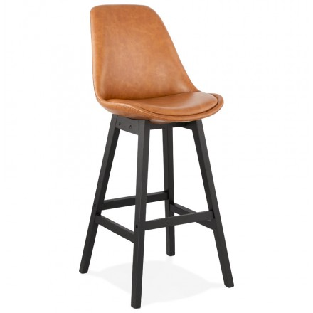 Bar design sedia bar piedi neri DAIVY (marrone chiaro)
