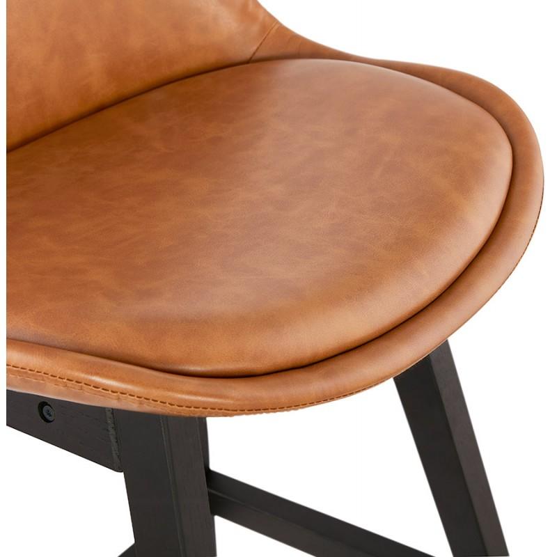 Tabouret de bar design chaise de bar pieds noirs DAIVY (marron clair) - image 46331