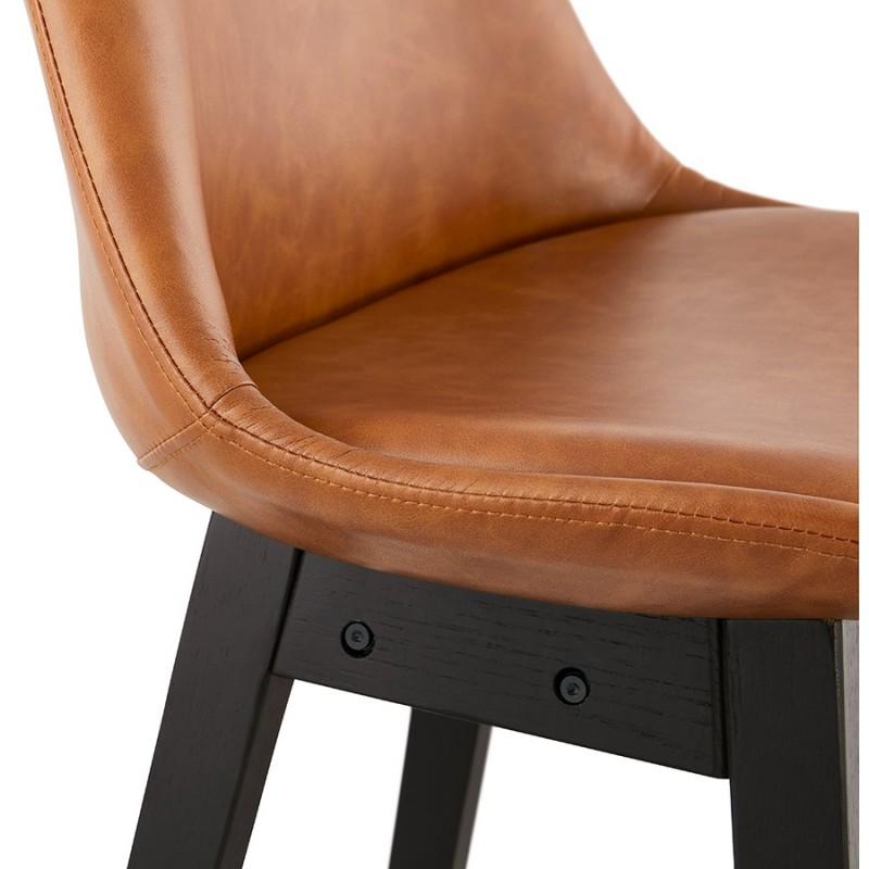 Tabouret de bar design chaise de bar pieds noirs DAIVY (marron clair) - image 46333