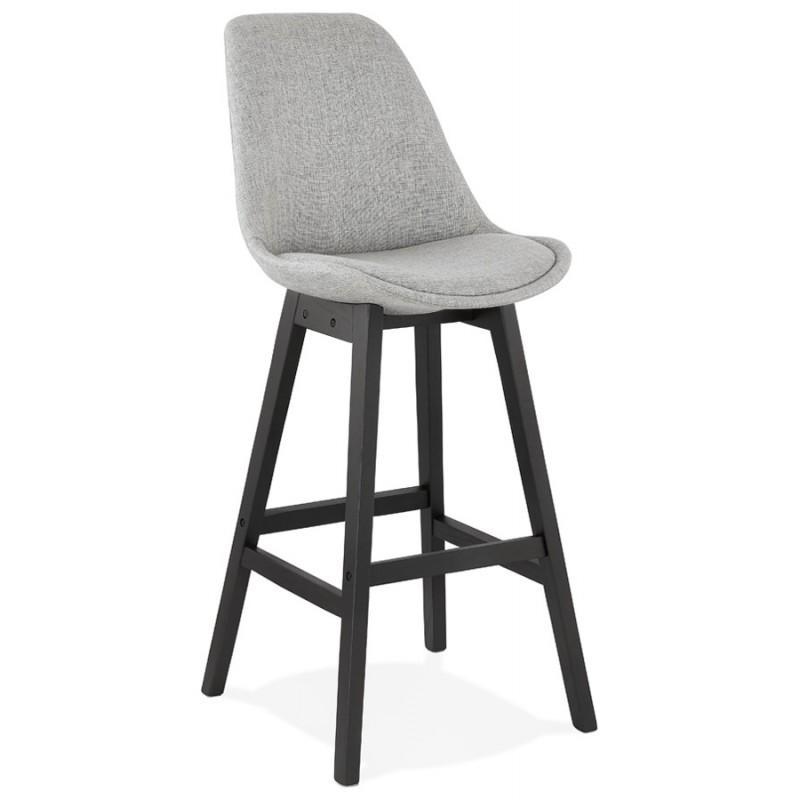 Tabouret de bar chaise de bar pieds noirs ILDA (gris clair) - image 46335