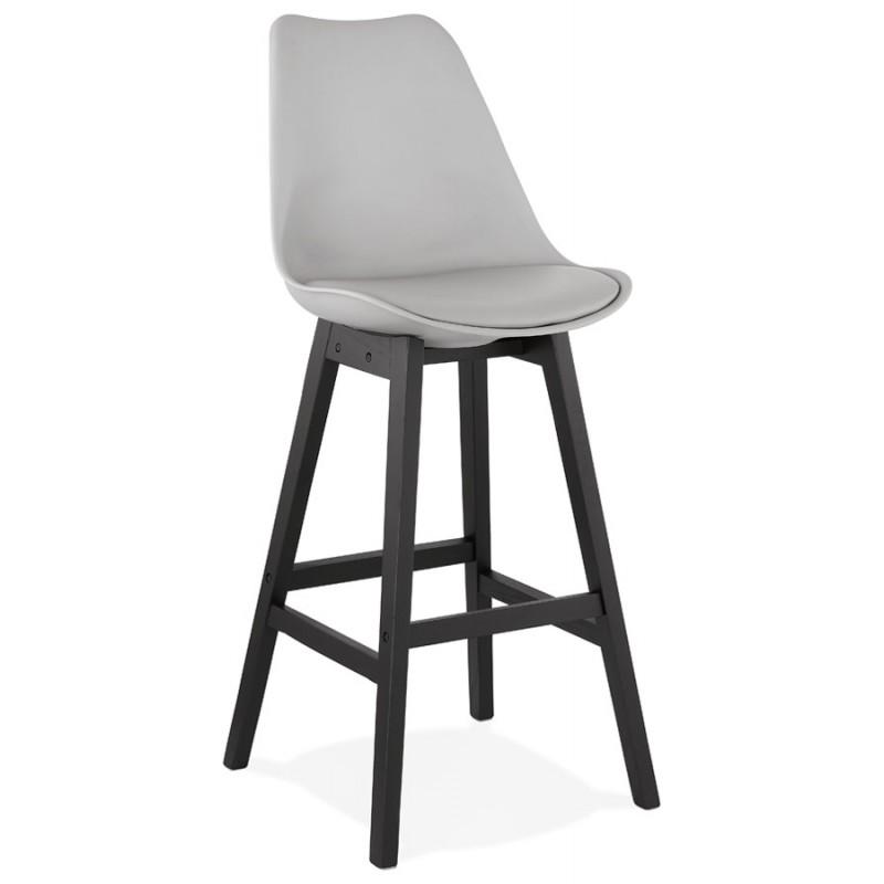 Tabouret de bar chaise de bar pieds noirs DYLAN (gris clair)