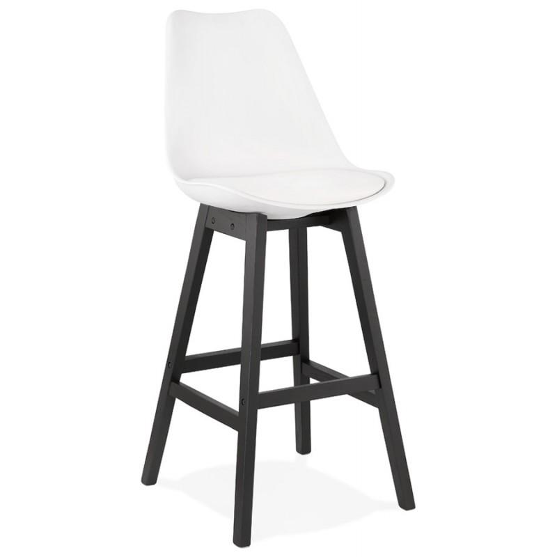Tabouret de bar chaise de bar pieds noirs DYLAN (blanc)