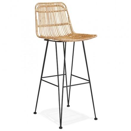 Tabouret de bar chaise de bar en rotin pieds noirs PRETTY (naturel)