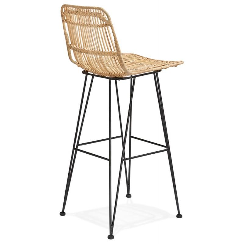 Tabouret de bar chaise de bar en rotin pieds noirs PRETTY (naturel) - image 46408